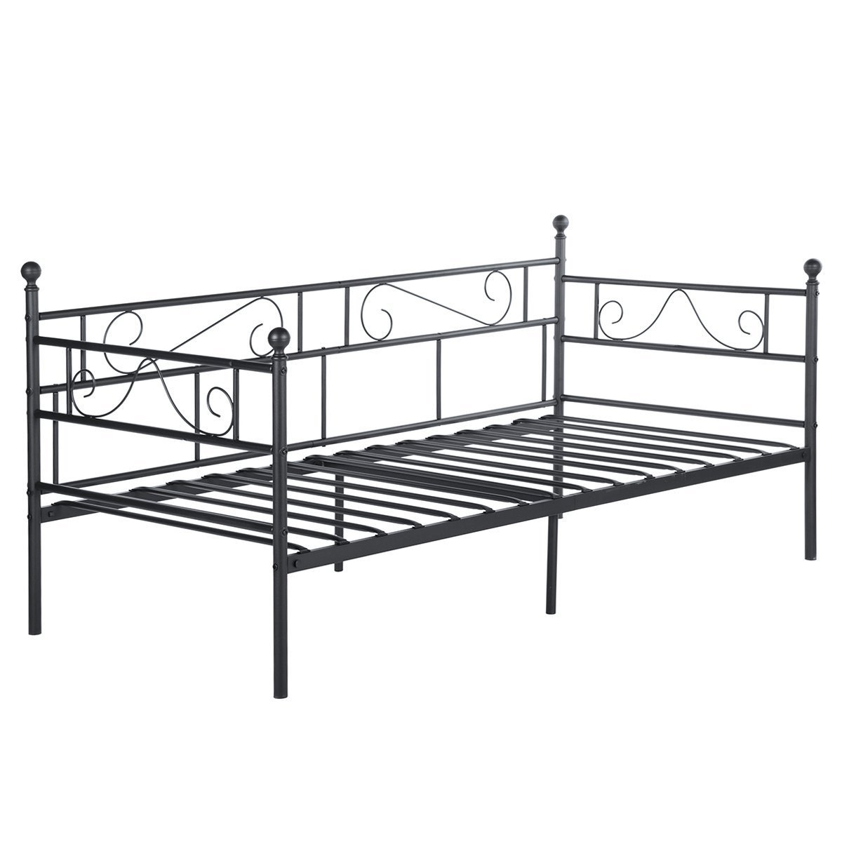 DORAFAIR Twin Daybed and Trundle Frame Set with Pull Out Trundle for Living Room Guest Room,Guest Bed Frame Sofa Bed with Headboard Platform Base,Black