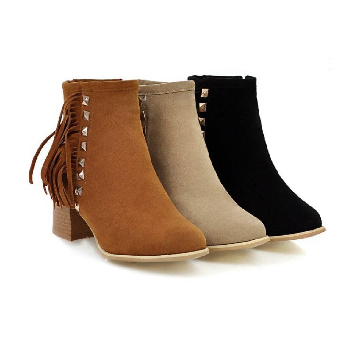 WJNKK Mesdames Chunky Chunky Chunky Block Heel Zipper Bottines Chaussures CasualB076FSHKWNParent 039787