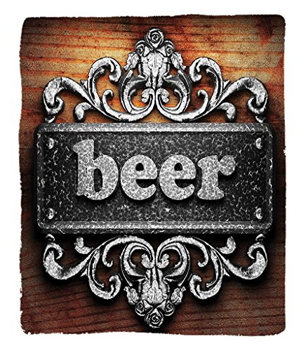 Chaoran 1 Fleece Blanket on Amazon Super Silky Soft All Season Super Plush Manly Decor Collectionilver Word on Ornament Beer Text Wooden Background Ancient Interior Rustic Art Fabric et Grey Beer Wood (Hyde Park Beer)