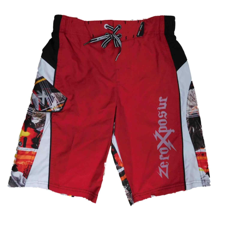 Boys Red Cargo Graphic Swim Trunks Board Shorts