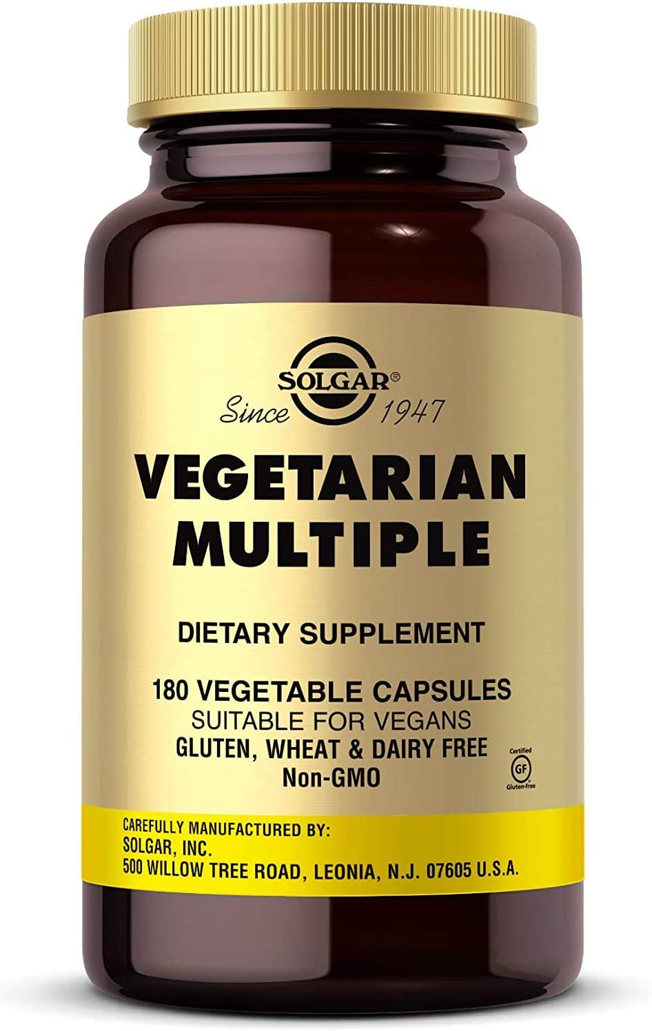 Solgar Vegetarian Multiple, 180 Vegetable Capsules - Vitamins A, C, D, E & More - Contains Irons - Plus Zinc for Healthy Immune System Support - Vegan, Gluten Free, Dairy Free - 60 Servings