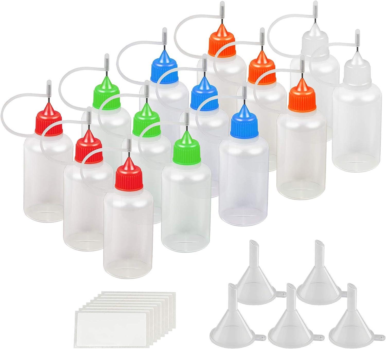 14 X 30ml de cuentagotas de dispensador de KAKOO punto la botella plástico de gota de aguja para e líquido, hace DIY con 5pcs embudo pequeño y 30 pcs etiqueta de Pegatina para distinguir