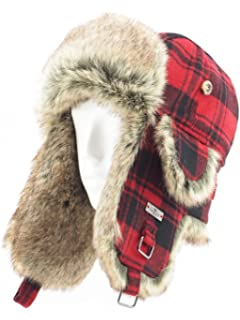 3c676829c83 FUR WINTER Wool Blend Buffalo Check Faux Fur Aviator Outdoor Trapper  Trooper Pilot Ski Hat
