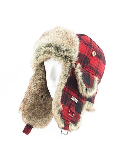 b71987a367a FUR WINTER Wool Blend Buffalo Check Faux Fur Aviator Outdoor Trapper  Trooper Pilot Ski Hat at Amazon Men s Clothing store