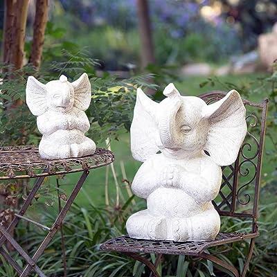 Garden Age Supply White Meditating Lucky Elephant Statue (12.0) : Garden & Outdoor