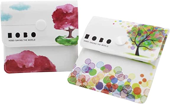 Androxeda Cendrier /à 2 Poches Sacs Gris sans Parfum PVC Ignifuge Compact Portable Motif de Paysage Japonais de Conception Unique