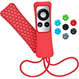 Sahiyeah Case Compatible for Apple TV Remote Case Light Weight Anti Slip Waterproof Shockproof Silicone Protective Case Cover for Apple TV 2 3 Remote Controller,Red