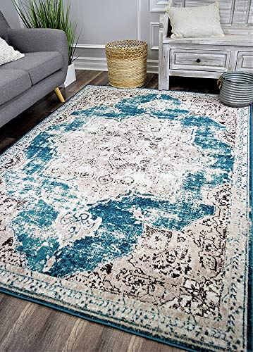 Rugs America HW20A Harlow Area Rug, 5'x7', Blue from Rugs America
