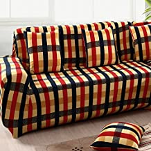 yazi Holiday Gingham Stretch Fit Sofa Slipcover Furniture Couch Protector Cover Three-Seater 74-90 Inch