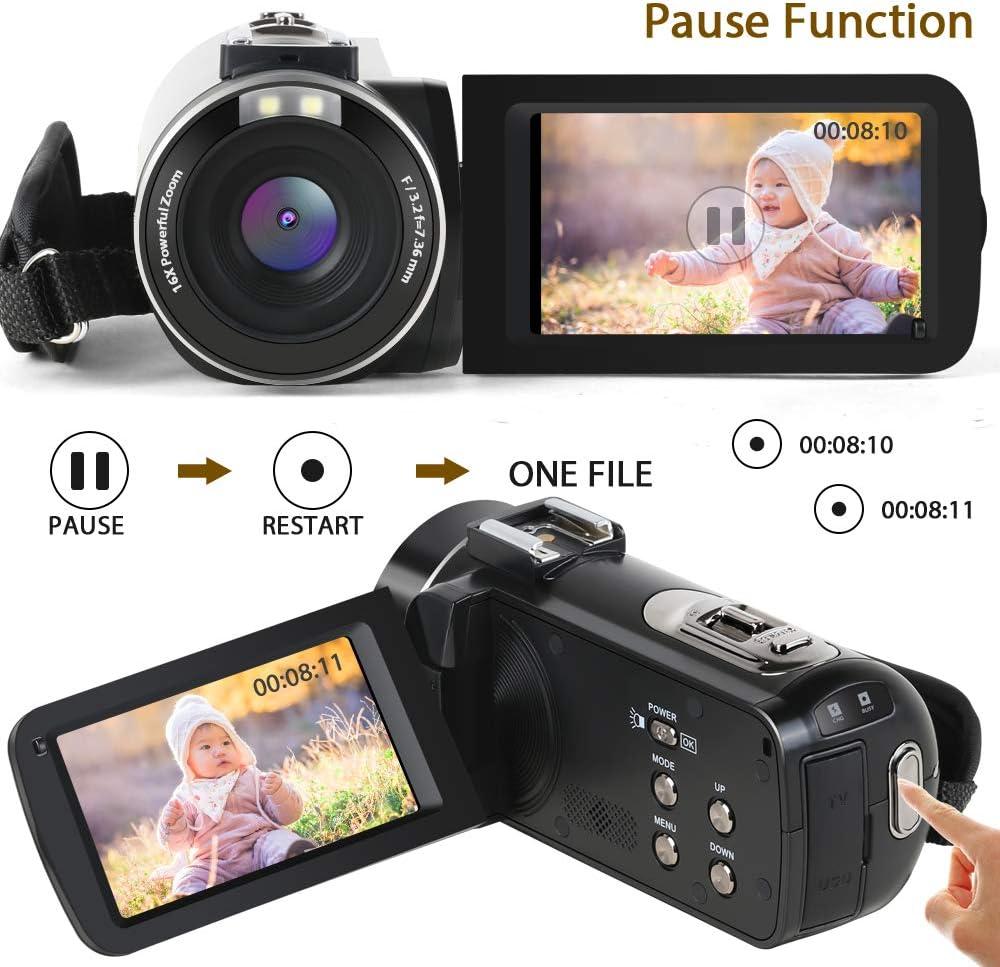 Cámara de Video, Aabeloy Youtube Vlogging Camera HD 1080P 24.0MP 3.0 Pulgadas LCD 270 Dradi Pantalla giratoria 16X Grabadora de Zoom Digital Videocámara con 2 baterías: Amazon.es: Electrónica