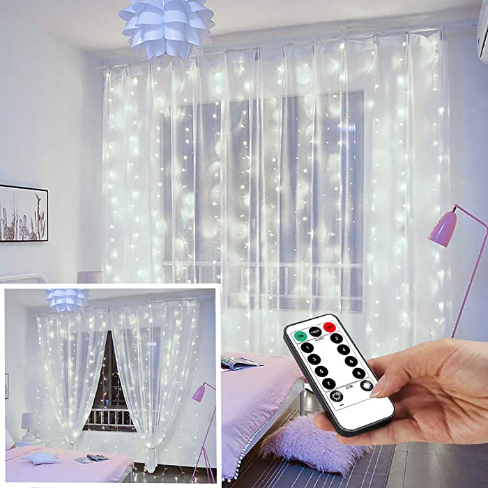 YEOLEH String Lights Curtain,USB Powered Fairy Lights for Party Bedroom Wall,IP64 Waterproof Ideal for Outdoor Garden Decorations (White,7.9Ft x 5.9Ft)