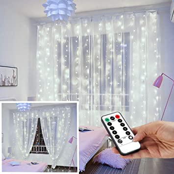 YEOLEH String Lights Curtain,USB Powered Fairy Lights for Christmas Bedroom  Wall,IP64 Waterproof Ideal for Outdoor Garden Decorations (White,7.9Ft x ...
