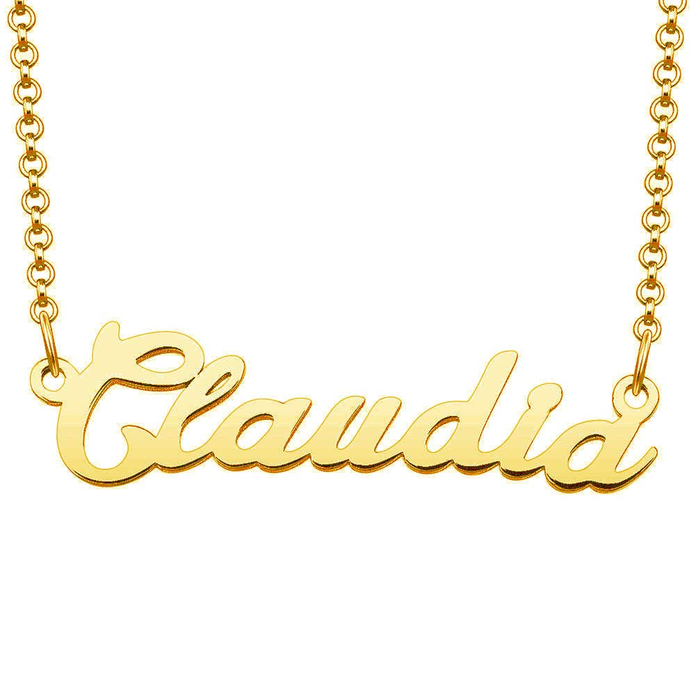 LoEnMe Jewelry Gold Plated Personalized Name Custom Script Letter Claudia Necklace