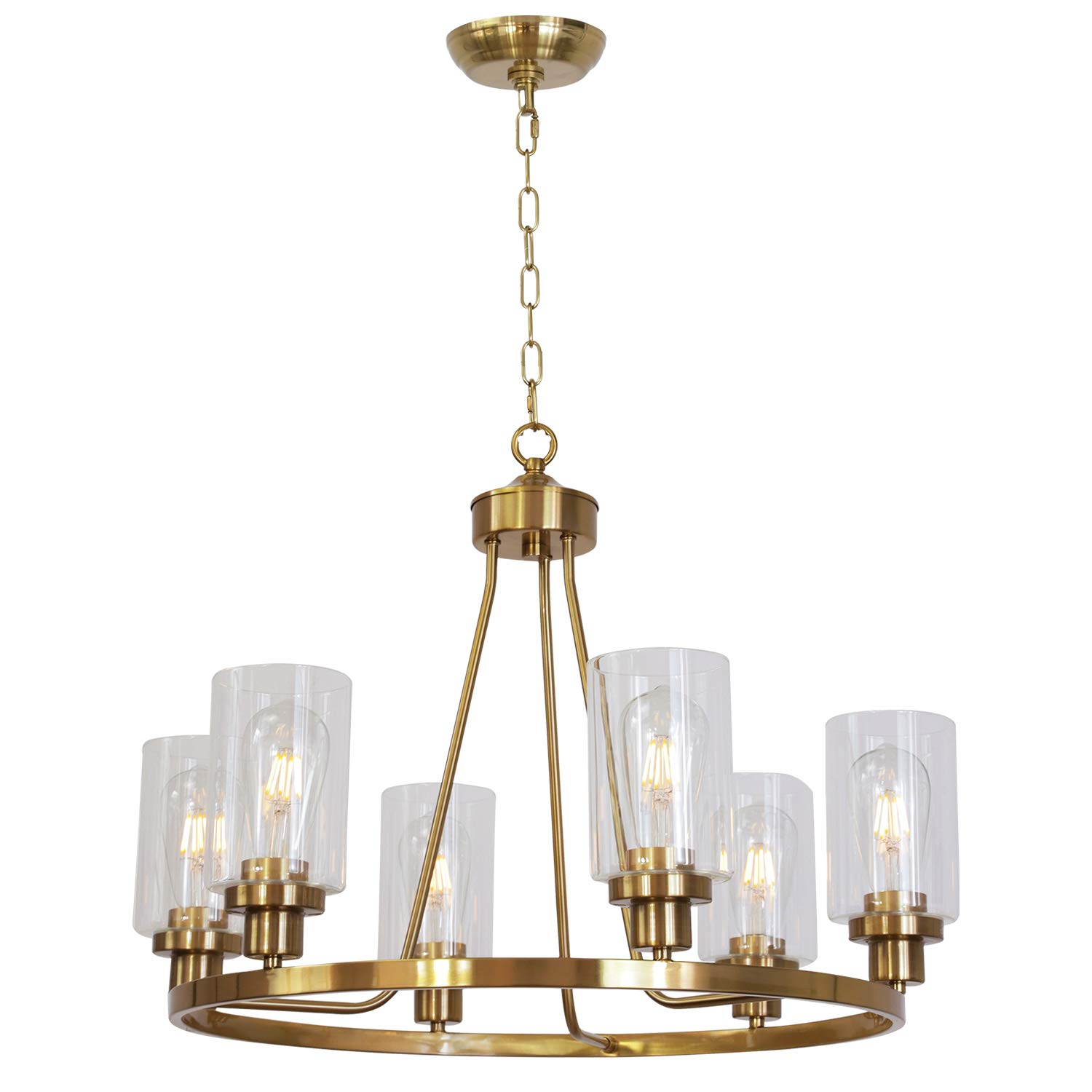Melucee 25 wide island lighting brass 6 lights round chandelier flush mount dining room lighting fixtures hanging glass pendant light for kitchen foyer