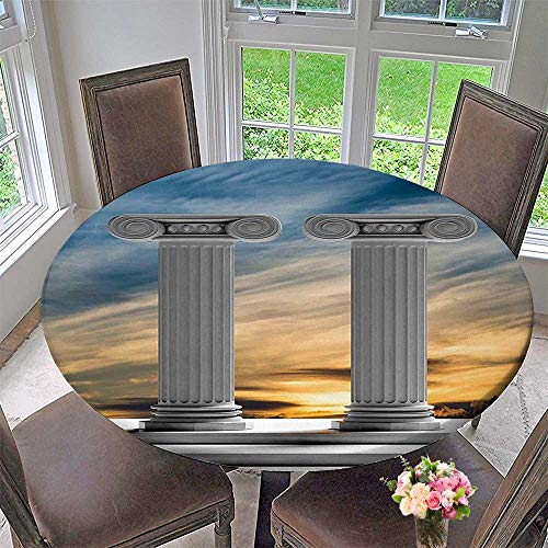 (Mikihome Picnic Circle Table Cloths Two Ancient Marble Pillars at Sunset Clouds in The Sky Digital Image Blue for Family Dinners or Gatherings 35.5