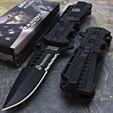 Mtech USA USMC Marines Black Spring Assisted Opening Tactical Rescue Folding Pocket Knife