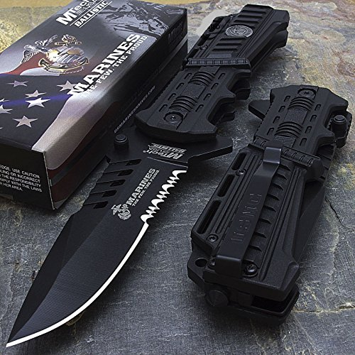 USMC Marines Black Spring Assisted Opening Tactical Rescue Folding Pocket Knife (Assisted Knife Opening Spring)