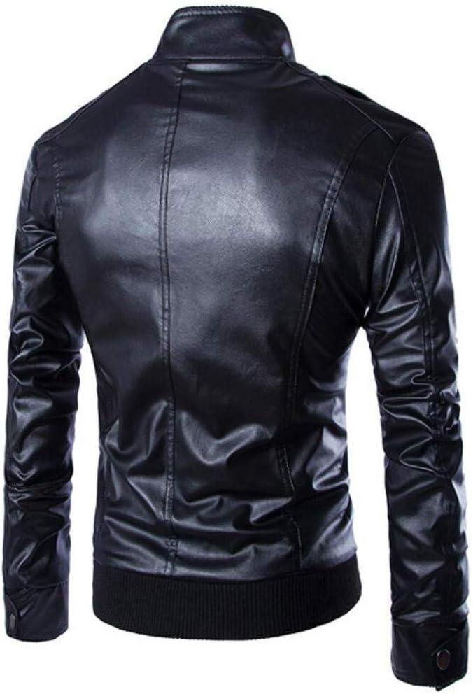Hot Daoroka Mens Stand Collar Leather Jacket Autumn Winter Warm Coat Fashion Comfort Overcoat Outwear