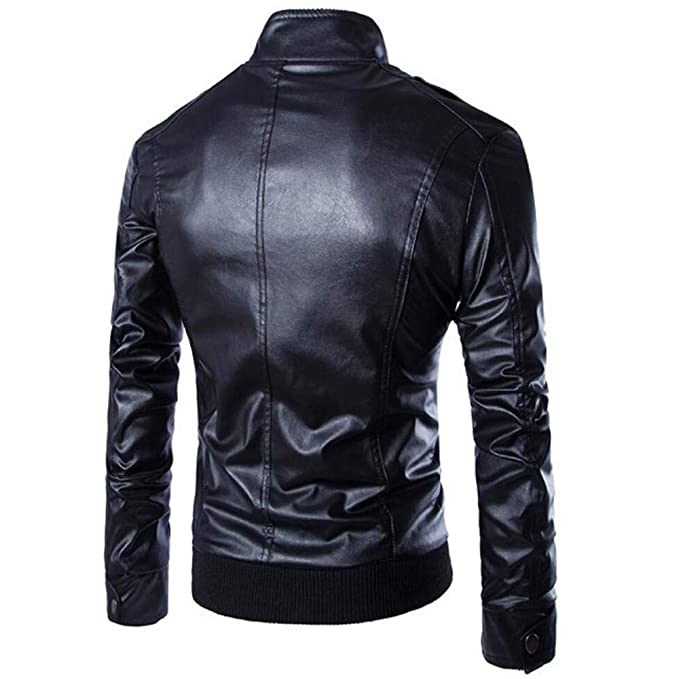 Amazon.com: Mens Classic Slim Fit Stand Collar Pu Leather Motorcycle Jacket Biker Jacket Zipper Coat: Clothing