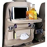 Car Backseat Organisers Universal Car Back Seat Organiser Foldable Table Holder PU Leather Kick Mat for Bottle Tissue Box Kid Toys