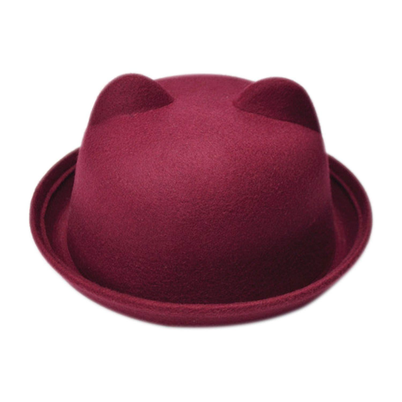 Women Cat Ears Cap Jazz Bowler Felt Fedora Hat Spring Autumn Cylinder Caps Bonnet