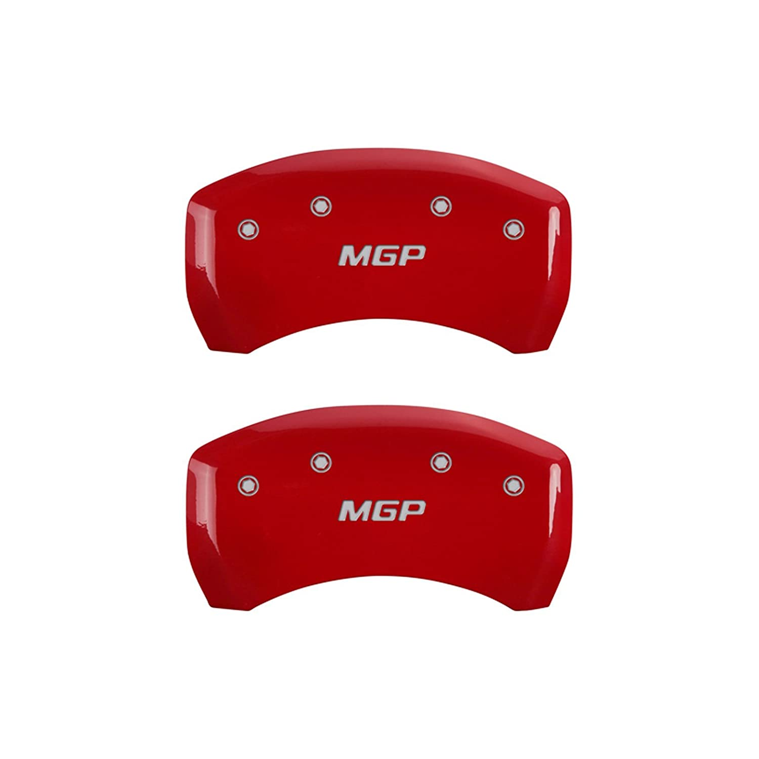 MGP Caliper Covers 22210SMGPRD MGP Engraved Caliper Cover with Red Powder Coat Finish and Silver Characters, Set of 4