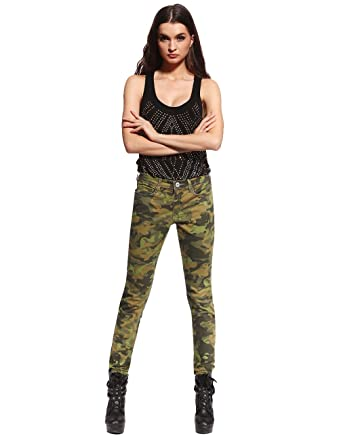 db110737f0c1 Anladia Womens Camo Military Army Cargo Pencil Denim Pants Skinny Jeans  Leisure Trousers Size 4