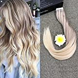 "Full Shine 20"" 20 Pcs 50 Gram #18 Ash Blonde Fading to #60 Plantinum Blonde and #22 Nordic Remy Ombre Dip Dye Hair Extensions Glue in Hair Extensions Human Hair Double Sided Tape Hair Extensions"