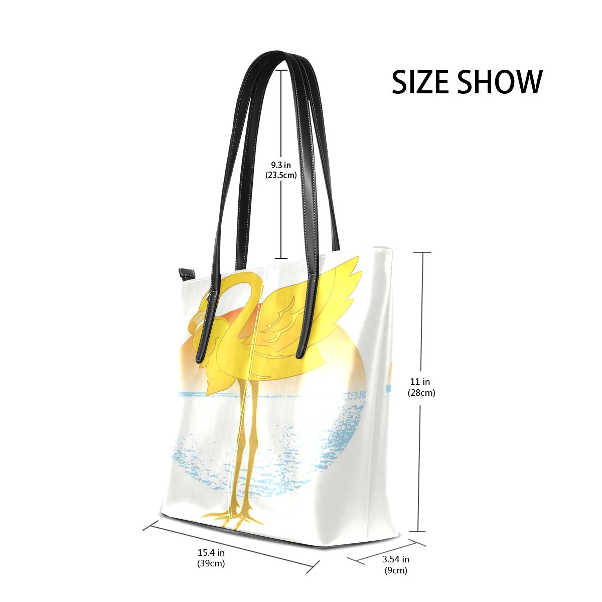Womens Leather Top Handle Shoulder Handbag Yellow Ostrich Large Work Tote Bag