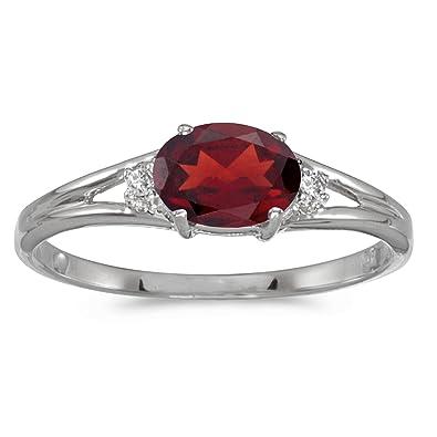 14k White Gold Oval Garnet And Diamond Ring