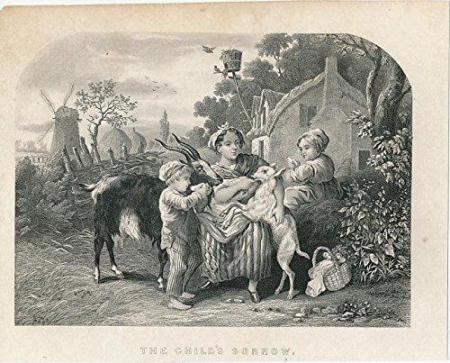 Children feeding a pet goat windmill basket ca. 1850's era old Childhood print