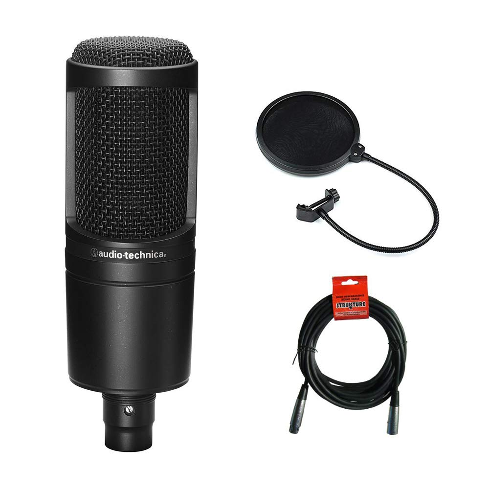 Audio Technica AT2020 Condenser Studio Microphone Bundle with Pop Filter and XLR Cable                Audio-Technica AT2020USB+ Cardioid Condenser USB Microphone, with Built-In Headphone Jack & Volume Control, Black                Audio-Technica AT2020USB+PK Vocal Microphone Pack for Streaming/Podcasting, Includes USB Mic w/Built-In Headphone Jack & Volume Control, Boom Arm, & Headphones