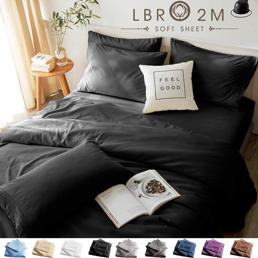 LBRO2M Bed Sheets Set King Size 6 Piece 16 Inches Deep Pocket 1800 Thread Count 100% Microfiber Sheet,Bedding Super Soft Hypoallergenic Breathable,Resistant Fade Wrinkle Cool Warm (Black)