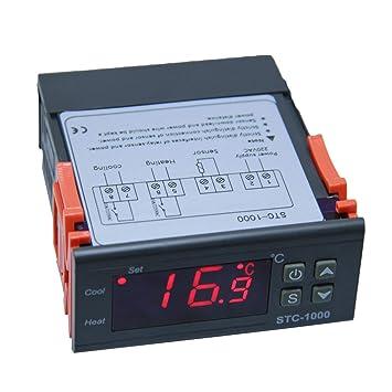 JullyeleESgant STC - 1000 Dos Salidas de relé LED Controlador de Temperatura Termostato Incubadora Calor Frío Cambio automático Válvula de Cuatro vías: ...