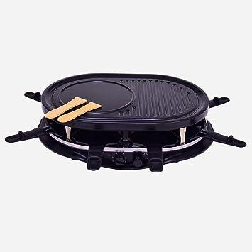 Raclette Parrilla 8 personas Juego de accesorios para sartenes dispositivo Pizza Redonda mesa grill eléctrico (