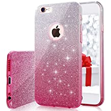 iPhone 6s Case, Milprox Girls SHINY GLITTER CASE [Bling Crystal Clear][Extremely Sparkly], Slim Premium 3 Layer Hybrid, Anti-Slick/ Protective/ Soft Case, iPhone 6 Case- 4.7 Pink+Silver