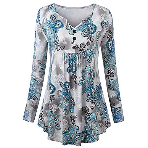 Veils Discount Wedding (Plus Size Tops,Toimoth Women Long Sleeve V-Neck Button Print Tops T-Shirt Loose Casual Blouse (Blue,L))
