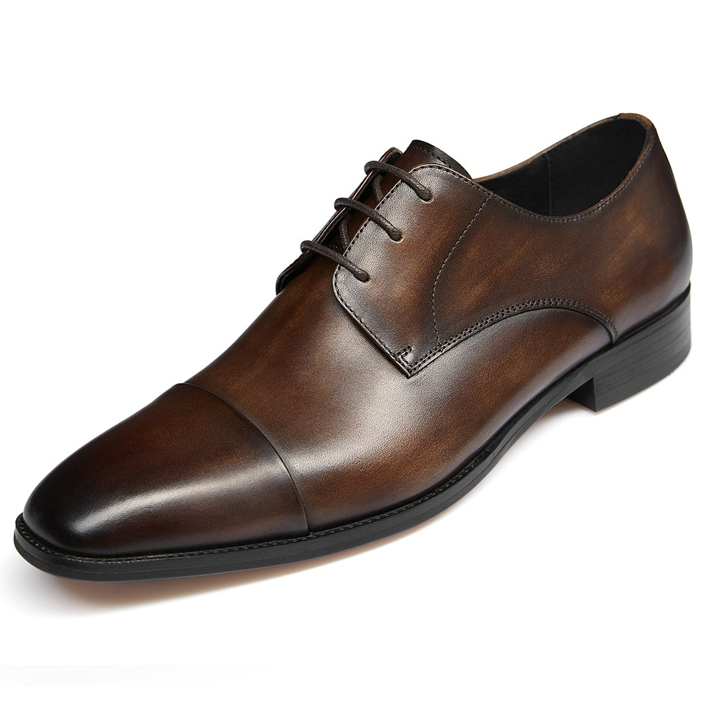 GIFENNSE Men's Leather Cap-Toe Oxford Shoes Mens Dress Shoes(9.5US/Dark Brown