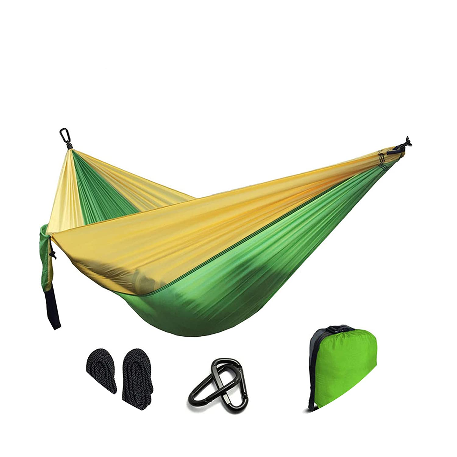 Green and Yellow One Size Parachute Hammock Survival Garden Hunting Leisure Hamac Travel Double Person Hammock,Army Green