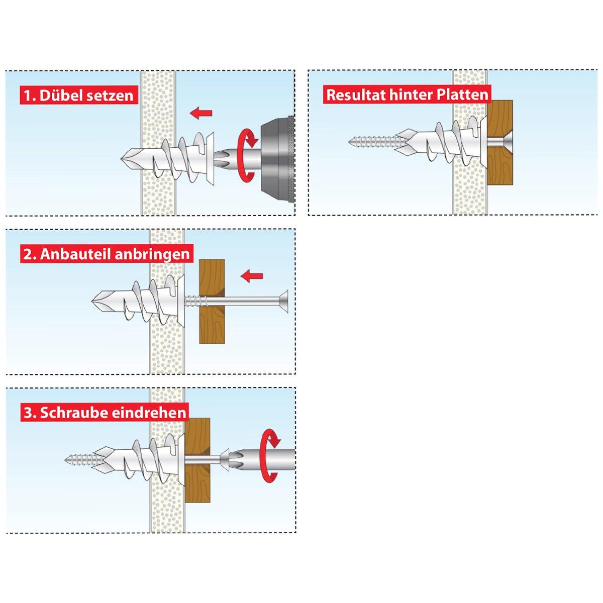50 pi/èces 068100231 TOX cheville pour plaques de pl/âtre Spiral 32 mm