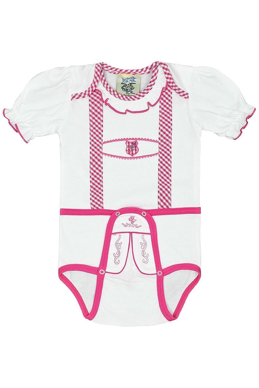 Baby - Mädchen Isar-Trachten Babystrampler Lederhose pink kurz, weiß-pink,