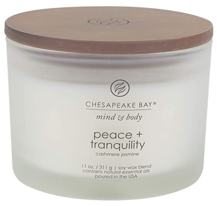 Chesapeake Bay Candle Scented Candle, Peace + Tranquility (Cashmere Jasmine), Coffee Table