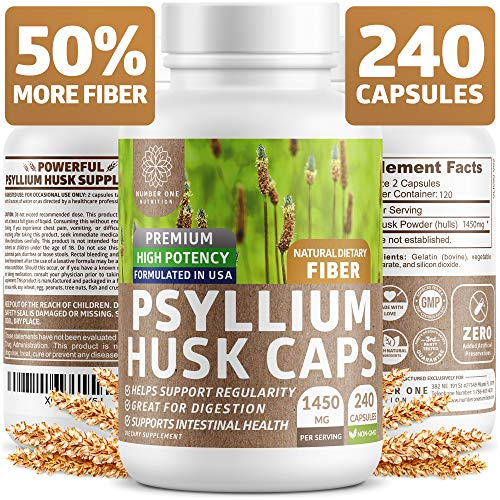 Premium Psyllium Husk Capsules [All Natural & Potent] – Powerful Soluble Fiber Supplement Helps Support Regularity & Digestion, Reduce Constipation, Lower Cholesterol & Support Weight Loss – 240 Caps