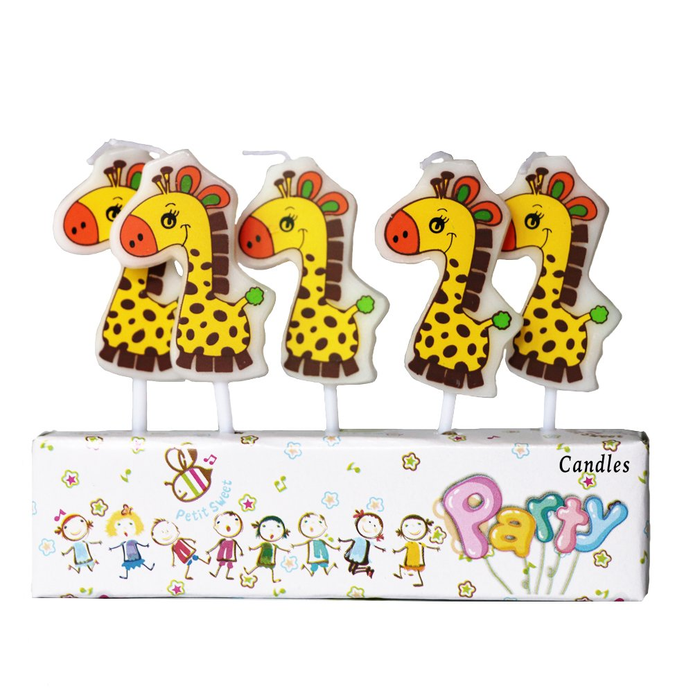 Zongheng Ecape Cartoon Animal Party Candles Adorable Giraffe Candles Handmade Craft Candles Western Cake Decoration Cake Candles 5 Candles a Set by Ecape (Image #3)