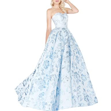 YUOHT Sweethear Floral Printed A-Line Bridesmaid Dress Long Strapless Evening Party Prom Dress Blue
