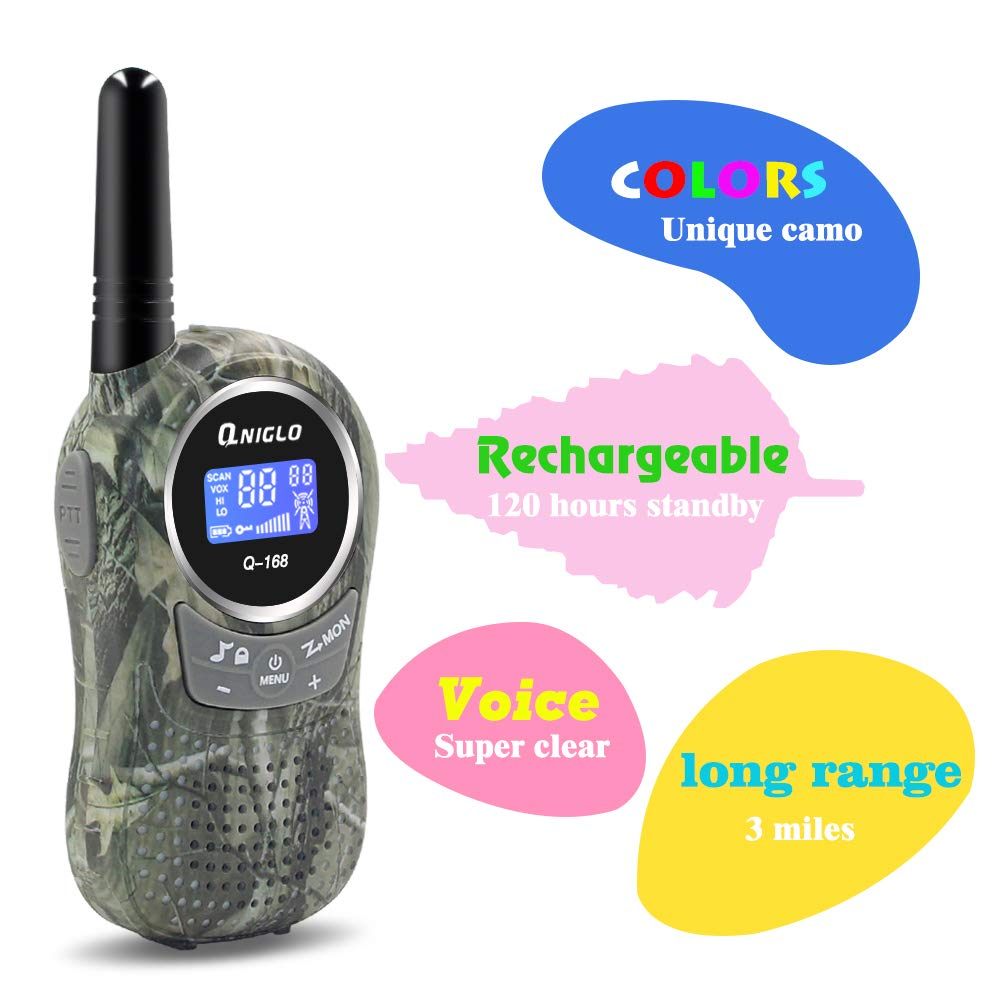 QNIGLO Rechargeable Walkie Talkies, 22 Channel FRS Two Way Radio Long Range Walkie Talkies for Kids Adults (Camo Blue+Camo Green, 4 Pack) by QNIGLO (Image #3)