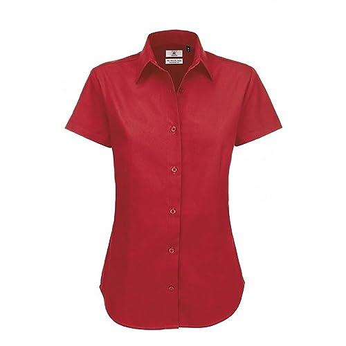 B&C - Camisa de manga corta de algodón entrelazado para mujer