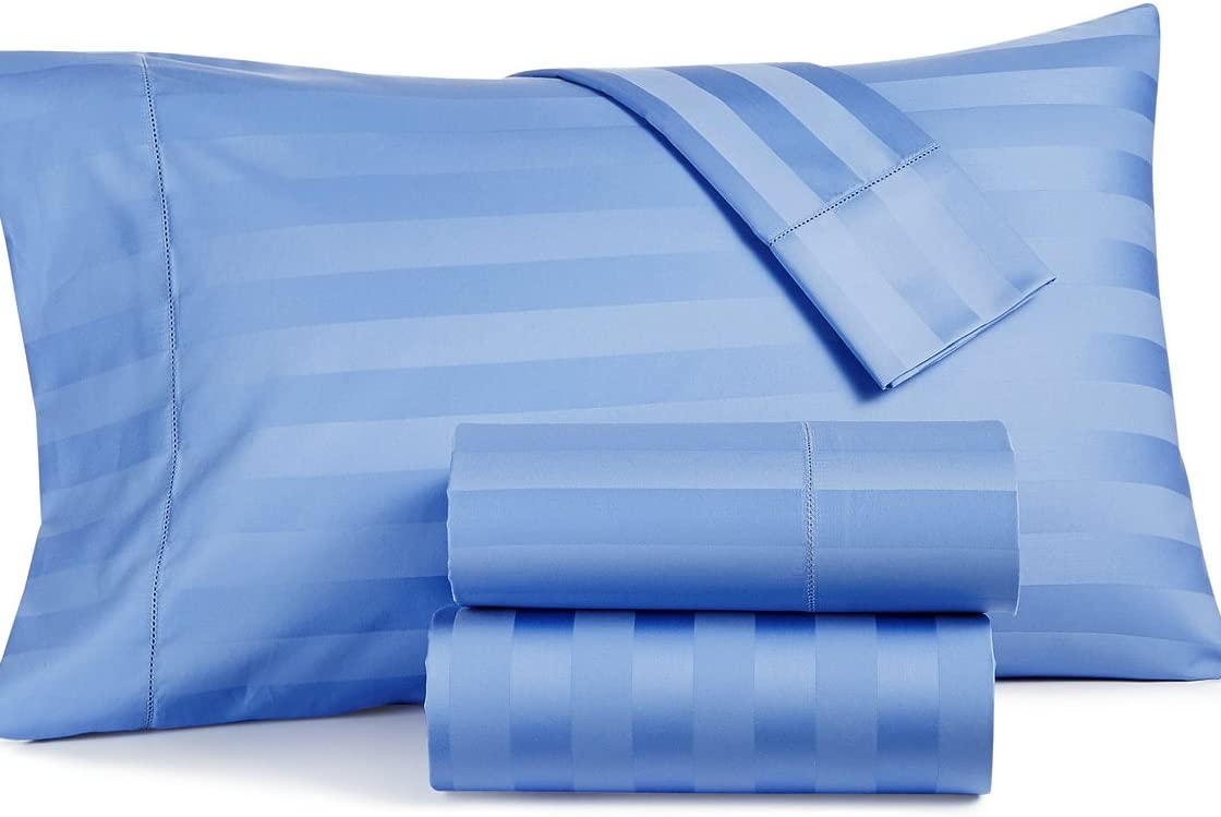 Charter Club Damask Stripe Extra Deep Pocket Cal King 4-Pc Sheet Set, 550 TC Pure Supima Cotton Cornflower