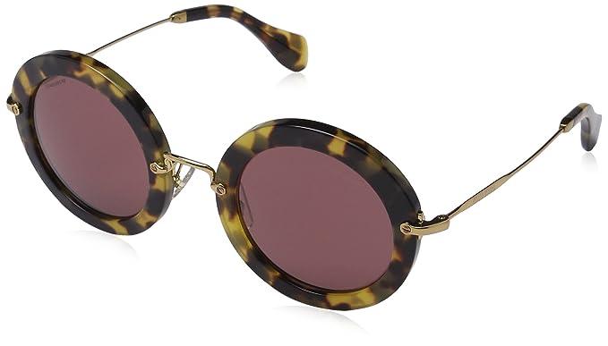 negozio del Regno Unito grande selezione qualità autentica miu miu mescolare metal occhiali da sole rotondi all'Avana giallo MU 13NS  7S00A0 49