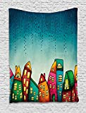 XHFITCLtd House Tapestry, An Illustration of Fantasy Colorful Houses with Windows Pattern Print, Wall Hanging for Bedroom Living Room Dorm, 60WX80L Inches, Petrol Blue and Yellow